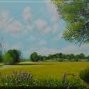 Repcemező szélén - olajfestmény, Képzőművészet, Festmény, Olajfestmény, 40 x 50 centis olajfestmény 3D-s feszített vásznon, keret nélkül. Egy üde, napsütötte tavaszi tájat ..., Meska