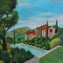 Toscan villa - akrilfestmény, Képzőművészet, Festmény, Akril, Kb. 36 x 41 centis akrilfestmény faroston, lakkozva, keret nélkül. Egy jellegzetes mediterrán növény..., Meska