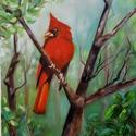 Kardinális - olajfestmény, Képzőművészet, Festmény, Olajfestmény, 40 x 30 centis olajfestmény feszített vásznon, keret nélkül. A világ egyik legszebb madara, a kardin..., Meska