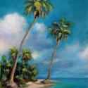 Álomnyaralás - akrilfestmény, Képzőművészet, Festmény, Akril, 40 x 30 centis akrilfestmény lakkozva, keret nélkül. Az örök nyarat, a pálmát, tengerparti hangulato..., Meska