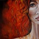 Tüzek lánya - olajfestmény, Képzőművészet, Festmény, Olajfestmény, 40 x 40 centis olajfestmény feszített vásznon. Egy fiatal, tüzes, igazi mai lányt/hölgyet ábrázol a ..., Meska
