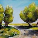 Nyári út - olajfestmény, Képzőművészet, Festmény, Olajfestmény, 30 x 40 centis olajfestmény, keret nélkül. Tikkasztó hőségben kanyargó utat ábrázol egy kis mesebeli..., Meska