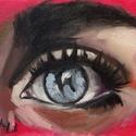 Szem - olajfestmény (tanulmánykép), Képzőművészet, Festmény, Olajfestmény, 15 x 20 centis olajfestmény művészpapíron. Egy igéző kék szemet ábrázol a kép. A pontos postaköltség..., Meska