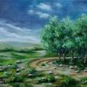 A kanyaron túl - olajfestmény, Képzőművészet, Festmény, Olajfestmény, 30 x 40 centis olajfestmény feszített vásznon, keret nélkül.  Ez a festmény már szerepelt kiállításo..., Meska