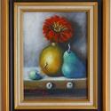 Valószerűtlen csendélet - olajfestmény, Képzőművészet, Festmény, Olajfestmény, 29 x 21 centis olajfestmény kasírozott vásznon, mutatós, széles keretben. Ez egy olyan csendélet, am..., Meska