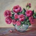 Rózsák üvegvázában - olajfestmény, Képzőművészet, Festmény, Olajfestmény, 40 x 50 centis olajfestmény faroston, keret nélkül. A (szerintem) legszebb virágot, a rózsát festett..., Meska