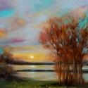 Tóparti alkony - olajfestmény, Képzőművészet, Festmény, Olajfestmény, 40 x 50 centis olajfestmény faroston, keret nélkül. Nyáresti alkony, kellemes este egy tó partján.  ..., Meska