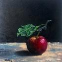 Csak egy alma - olajfestmény, Képzőművészet, Festmény, Olajfestmény, 28 x 24 centis olajfestmény kasírozott vásznon, keret nélkül. A maga nemében a legegyszerűbb témát, ..., Meska