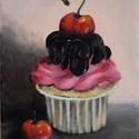 Cupcake, Képzőművészet, Festmény, Akril, 24 x 18 centis akrilfestmény feszített vásznon, lakkozva, keret nélkül. Kedves dísze lehet egy konyh..., Meska