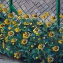 A kerítés mentén - olajfestmény, Képzőművészet, Festmény, Olajfestmény, 40 x 50 centis olajfestmény faroston, keret nélkül. A kép plein air módon készült. Most nyílik ez a ..., Meska