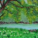 Sziklás part tavasszal - akrilfestmény, Képzőművészet, Festmény, Akril, Kb. 35 x 62 centis akrilfestmény faroston, lakkozva, keret nélkül. Egy üde, zöld vízparti tájat láth..., Meska