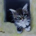 Gazdira várva - olajfestmény, Képzőművészet, Festmény, Olajfestmény, 30 x 40 centis olajfestmény feszített vásznon, keret nélkül. Egy pici cicát ábrázol a kép, aki házán..., Meska