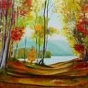 Őszi séta - olajfestmény, Képzőművészet, Festmény, Olajfestmény, 40 x 50 centis olajfestmény faroston, keret nélkül. A képen látható keret nem része az aukciónak, de..., Meska