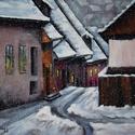 Szállingózó hópihék - akrilfestmény, Képzőművészet, Festmény, Akril, 40 x 50 centis, akrilfestmény keret nélkül, lakkozva. Átélhetjük a kép által a tél legvarázslatosabb..., Meska