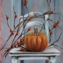 Októberi csendélet - olajfestmény, Képzőművészet, Festmény, Olajfestmény, 40 x 30 centis olajfestmény feszített vásznon, keret nélkül. Az október két jellegzetes növénye egy ..., Meska