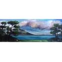 Ír vidék - olajfestmény vásznon, Képzőművészet, Festmény, Olajfestmény, 10 x 31 centis olajfestmény vásznon (nem feszített), keret nélkül.  A fotón látható keret virtuális...., Meska