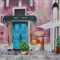 Caffé Ridola - olajfestmény, Képzőművészet, Festmény, Olajfestmény, 50 x 50 centis olajfestmény feszített vásznon, keret nélkül. Egy olasz kávézót ábrázol még a nyitás ..., Meska
