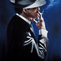 Dohányfüst - akrilfestmény