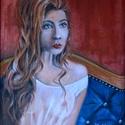 Stefi - olajfestmény, Képzőművészet, Festmény, Olajfestmény, 50 x 40 centis olajfestmény feszített vásznon, úgynevezett 3D-s vásznon. Az enyhén impresszionista k..., Meska