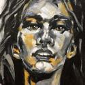Petra - akrilfestmény, Képzőművészet, Festmény, Akril, 27,5 x 20,5 centis akrilfestmény vásznon, kérésre lakkozva, keret nélkül. Egy fiatal lány portréja. ..., Meska