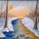 Téli naplemente - olajfestmény, Képzőművészet, Festmény, Olajfestmény, 30 x 40 centis olajfestmény faroston, keret nélkül.  Melegebb színekből álló téli pillanatkép. Kelle..., Meska