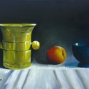 Csendélet rézmozsárral - olajfestmény, Képzőművészet, Festmény, Olajfestmény, 30 x 40 centis olajfestmény feszített vásznon, keret nélkül.  Konyhában, étkezőben különösen jól mut..., Meska