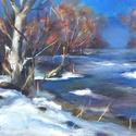 Hideg hajnal - akrilfestmény, Képzőművészet, Festmény, Akril, 20,5 x 27,5 centis akrilfestmény vásznon, keret nélkül. Egy igazi téli táj, kinn a természetben, a c..., Meska