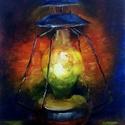 Viharvert viharlámpás - olajfestmény, Képzőművészet, Festmény, Olajfestmény, 24 x 18 centis olajfestmény kasírozott vásznon, keret nélkül. A hosszú, sötét, téli estékre egy kis ..., Meska