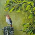 Hidegzuhany - olajfestmény, Képzőművészet, Festmény, Akril, 40 x 40 centis olajfestmény feszített vásznon, keret nélkül. Téli estéken is egy kis tavaszt, üdeség..., Meska