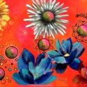 Neked nyíljon minden virág - akrilfestmény (vegyes technika), Képzőművészet, Festmény, Akril, 50 x 70 centis akrilfestmény feszített vásznon, keret nélkül. Igen erős, élénk színekkel dolgoztam, ..., Meska