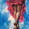 Felhőkön táncoló - akrilfestmény, Képzőművészet, Festmény, Akril, 75 x 58 centis akrilfestmény feszített vásznon, kérésre lakkozva, keret nélkül. Táncolni jó. A festm..., Meska