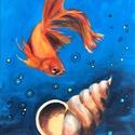 Aranyhal - akrilfestmény, Képzőművészet, Festmény, Akril, 40 x 30 centis akrilfestmény feszített vásznon, keret nélkül. A tenger mélye. Aranyhalat látunk, úgy..., Meska