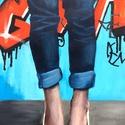 Blue jeans - akrilfestmény, Képzőművészet, Festmény, Akril, 43 x 28 centis akrilfestmény vásznon, keret nélkül. Mindennapi életkép a valóságban, viszont mint té..., Meska