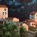 Tuscan night - akrilfestmény, Képzőművészet, Festmény, Akril, 30 x 43 centis akrilfestmény vásznon, keret nélkül. Egy igazi mediterrán nyári éjszaka . :) A pontos..., Meska