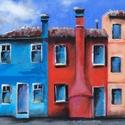 Meseváros utcácskája - akrilfestmény, Képzőművészet, Festmény, Akril, 21 x 59 centis akrilfestmény vásznon, keret nélkül. Mintha egy mesébe lépnénk be. Főleg a 3 alapszín..., Meska