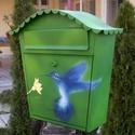 Postaláda Kolibri, Dekoráció, Képzőművészet, Otthon, lakberendezés, Kerti dísz, Kézzel festett és airbrush technikával készült egyedi postaláda. Anyaga vastag acéllemez, speciális ..., Meska