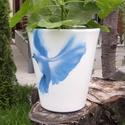 Kolibri  virágcserép, Képzőművészet, Otthon, lakberendezés, Kerti dísz, Kaspó, virágtartó, váza, korsó, cserép, Egyedi készítésű natúr virágcserép akrillal festve.  Víz-, hő-, és fényálló a cserép, virág beleülte..., Meska