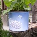 Lótusz  virágcserép, Képzőművészet, Otthon, lakberendezés, Kerti dísz, Kaspó, virágtartó, váza, korsó, cserép, Egyedi készítésű natúr virágcserép akrillal festve.  Víz-, hő-, és fényálló a cserép, virág beleülte..., Meska