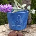 kis Buddha virágcserép, Képzőművészet, Otthon, lakberendezés, Kerti dísz, Kaspó, virágtartó, váza, korsó, cserép, Festett tárgyak, Kerámia, Egyedi készítésű natúr virágcserép akrillal festve.  Víz-, hő-, és fényálló a cserép, virág beleült..., Meska