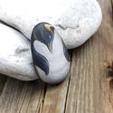 Pingvin kavics, Képzőművészet, Otthon, lakberendezés, Dekoráció, Kerti dísz, Ez a kavics felvidítja a napodat!  Pingvin - Kézzel festett egyedi kavics. Anyag: mészkő Festék: akr..., Meska