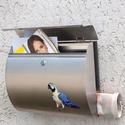 Postaláda papagáj, Dekoráció, Képzőművészet, Otthon, lakberendezés, Kerti dísz, Festett tárgyak, Kézzel festett és airbrush technikával készült egyedi postaláda. Anyaga Inox nemesacél postaláda, s..., Meska