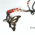 Pillangó nyaklánc - lepke, pille és piros üveggyöngy, Ékszer, Ékszerszett, Medál, Nyaklánc, Bronz színű pillangó medálból (4,5 cm) és 8 db bicon csiszolású piros üveggyöngyből kész..., Meska