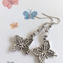 Pillangó - rózsakvarc és lepke fülbevaló, Ékszer, Ékszerszett, Fülbevaló, Vidám, tavaszt idéző fülbevalót készítettem ezüst színű lepke függőből (1,7x2 cm) és rózsakvarc ásvá..., Meska