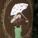 Macskás táska , Táska, Ruha, divat, cipő, Sári lányom megrajzolta ceruzával, összeválogatta hozzá a színeket, az anyagokat, és szorosan felügy..., Meska