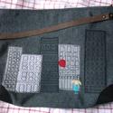 Szürke város egyedi laptoptáska nagyméretű táska, Táska, Ruha, divat, cipő, Nagyméretű táska, laptop, tankönyvek is elférnek benne, strapabíró szövetből. Sarkait textilbőrrel e..., Meska