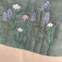 Nyári rét virágos arany és zöld válltáska női táska, Táska, Válltáska, oldaltáska, Szabad gépi tűzéssel készült a minta maga, mintha a varrógéppel rajzolnék a textilre... nagyon szere..., Meska
