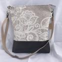 Shabby vintage csipke romantikus válltáska női táska, Táska, Válltáska, oldaltáska,  Kézi- és válltáskaként is hordható bézs csipkés-indás-virágos mintás lenvászon táska barna textilbő..., Meska