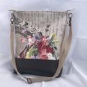 Shabby vintage virágoskert romantikus válltáska női táska, Táska, Válltáska, oldaltáska,  Kézi- és válltáskaként is hordható bézs csipkés-indás-virágos mintás lenvászon táska barna textilbő..., Meska