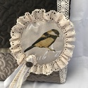 Romantikus madaras csipkés lagenlook shabby táska, Táska, Válltáska, oldaltáska, Puha steppelt kordbársony táska kismadaras csipkés szalagos díszítéssel  Flízzel bélelt, így nem csa..., Meska