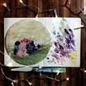 Virágos akrilfestmény kerek festőalapon, Képzőművészet, Festmény, Akril, Festmény vegyes technika, Festészet, Festett tárgyak, Absztrakt virágos festmény FESTŐKÉSSEL festve kerek KASÍROZOTT VÁSZONRA.   Egyedi lakásdekoráció AJ..., Meska